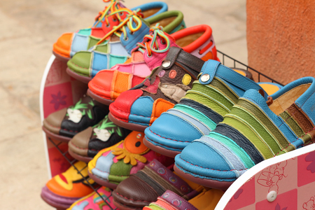 made in morocco: handmade of shoes put on the shelves