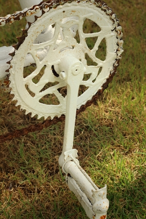 sprocket: Sprocket of bikes parked at the park. Stock Photo