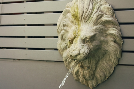 spitting: lion statue spitting water at the park Stock Photo