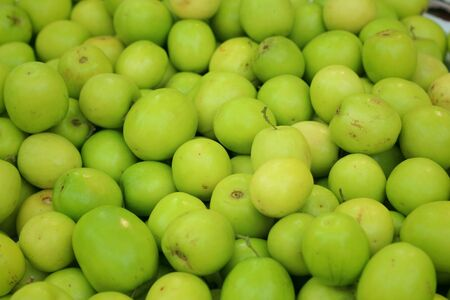green apples: Green apples on a table at the market Stock Photo