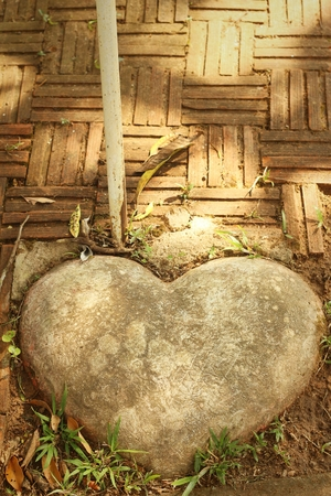aggregates: Brown stone of heart in a garden.