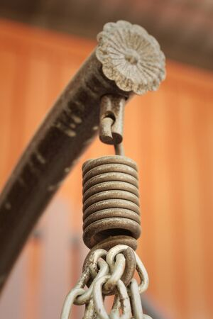 spiralling: Spring hanger with a rope at the park Stock Photo