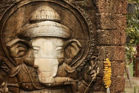 worshiped: Lord Ganesha is worshiped by the people.