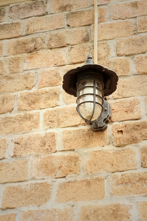 pendent: Wall lamp on a rocks background at the park