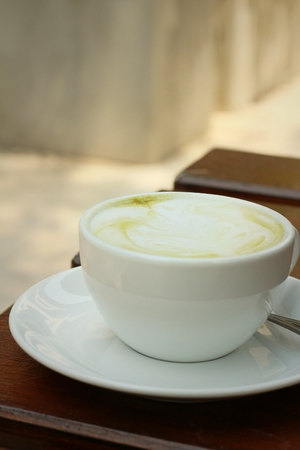 caffee: Green tea and milk at caffee shop.