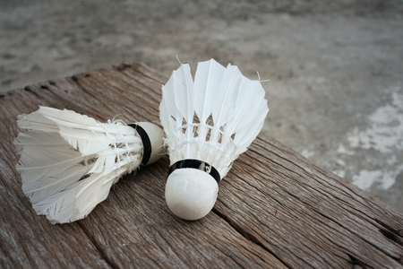 badminton: Shuttlecock on cement background at badminton court. Stock Photo