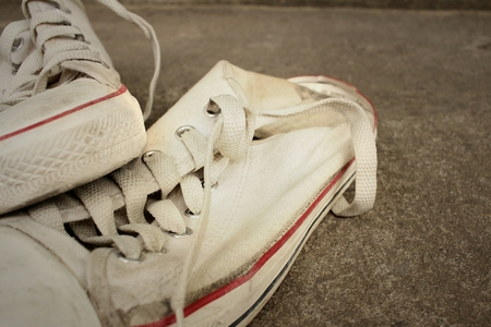 White shoes on background of cement. Stock Photo - 60611488
