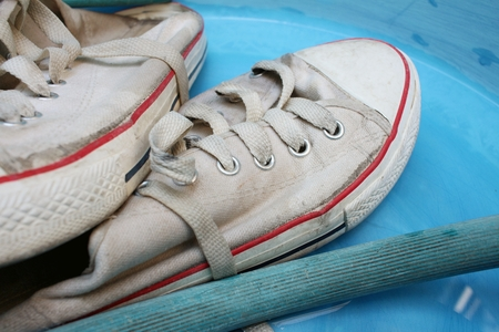 scour: Sneakers wash enameled bowl with soapy water.
