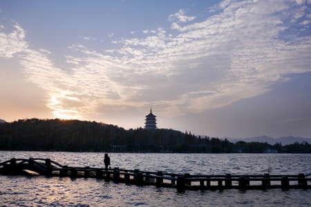 setting  sun: Hangzhou Pagoda under the setting sun