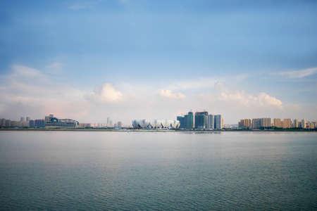 deportes olimpicos: Con vistas al Olympic Sports Center, la ciudad de Hangzhou,