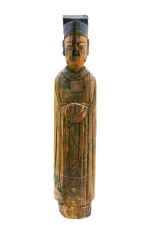 wood figurine: Southern Song dynasty wood figurine statue Stock Photo
