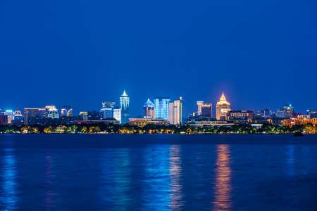 scenic spots: Night view of Hangzhou Editorial