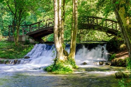 saraybosna: Waterfall of river Bosna near Sarajevo - Bosnia and Herzegovina Stock Photo