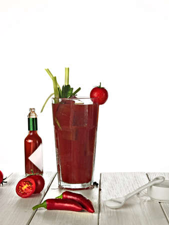 still life bloody mary cocktail on gray table Stock Photo - 13152251