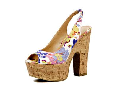 colored cork platform heel sandal
