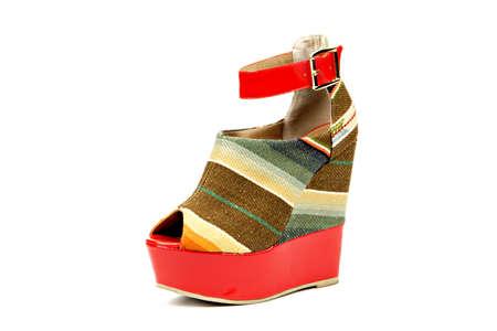 colored cork platform heel sandal Stock Photo