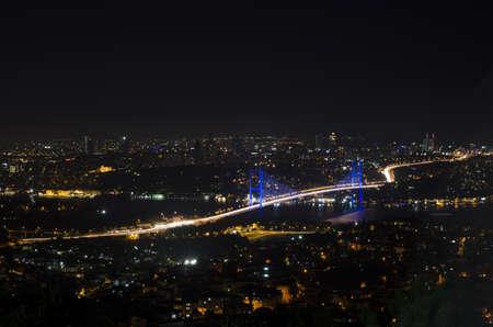 Night view of Bosphorus Bridge photo