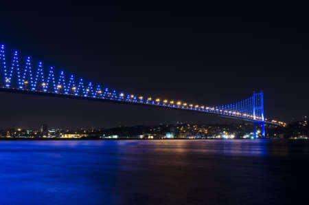 led lighting: Night view of Bosphorus Bridge
