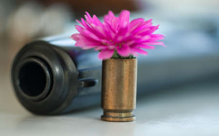 head protection: Gun and flower