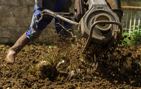 cultivator: Farmer using machine mart cultivator for ploughing soil