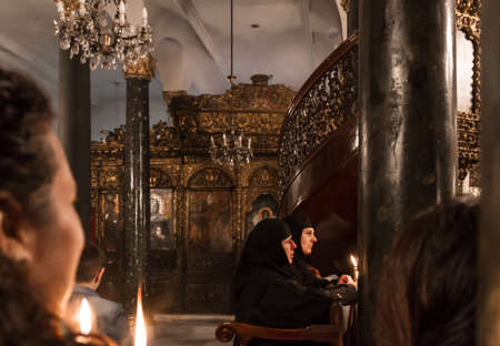 patriarchal: Orthodox Easter ceremony in Aya Dimitri Church in Istanbul, Turkey