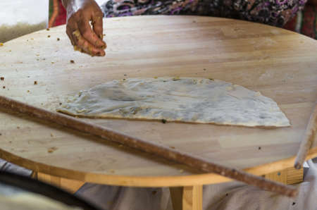 yufka: Turkish pancake.Gozleme  is a traditional savory Turkish flatbread and pastry dish, made of hand-rolled leaves of yufka