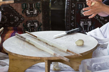 Turkish pancake.Gozleme  is a traditional savory Turkish flatbread and pastry dish, made of hand-rolled leaves of yufka