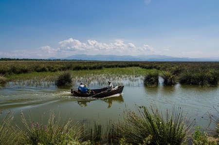 Fishing boat on Wetlands in the Kizilirmak delta Black Sea Province of Turkey