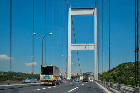 ISTANBUL, TURKEY - June 2, 2012: Traffic on the Fatih Sultan Mehmet Bridge in Istandul.