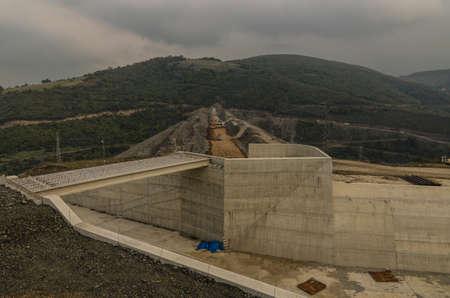 Dam construction operation near Samsun city, Turkey