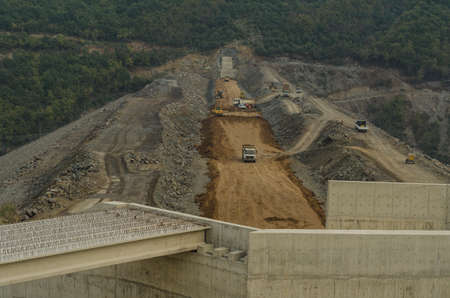 stabilization: Dam construction operation near Samsun city, Turkey