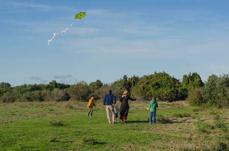 Samsun, Turkey - October 22, 2016: Turkish family flying kite in the weekend