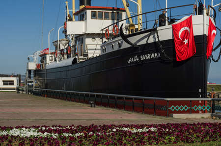 Samsun, Turkey - November 19, 2016: SS Banda was an Ottoman mixed-freight ship, which bec but famous for in each historical role in taking Mustafa Kemal Pasha (Ataturk) from Istanbul to Samsun in May 1919 that marked the establishment of the Turkish natio Editorial