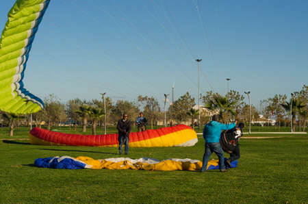 Samsun, Turkey - November 19, 2016: Paragliding lessons for new beginners course on the park