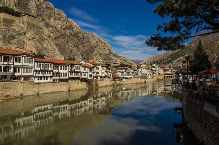 River scene of the old traditional Ottoman houses in Amasya, Turkey