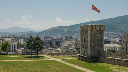 Skopje, Macedonia - 26 June, 2017: View of Skopje City from Kale fortress in the Old Town of Macedonia Editorial