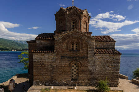 Ohrid, Macedonia - 03 July 2017: Orthodox Church of St. John at Kaneo on a cliff overlooking Ohrid Lake Editorial