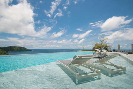 swimming pool with a view on Phuket Sea  Stock Photo