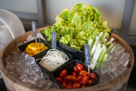 restaurant tables: selection of salads at a buffet bar in a luxury hotel restaurant