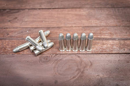 38: Set of bullets for 38 revolver hand gun  Stock Photo