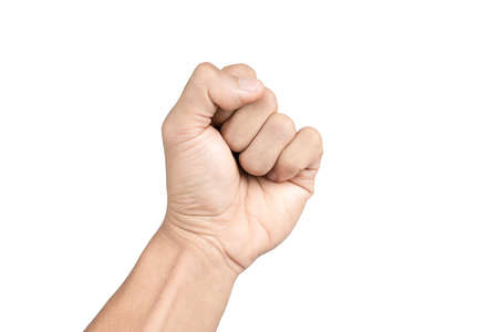hand - raised up clenched fist, isolated on white background photo