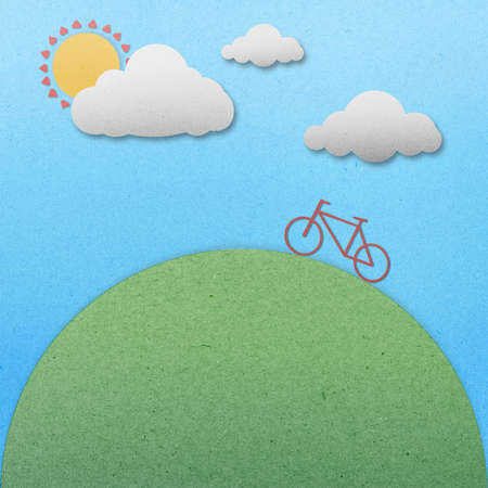 Bike view landscape paper on paper background photo