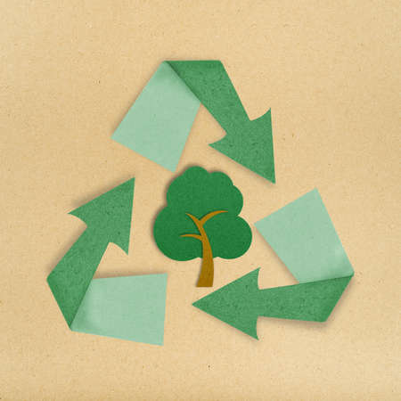 Tree recycled paper craft stick sign isolate on white photo