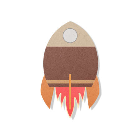 pace: pace rocket flying in space cut paper craft Stock Photo