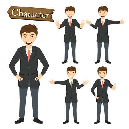 set of businessman: Businessman character set vector illustration.