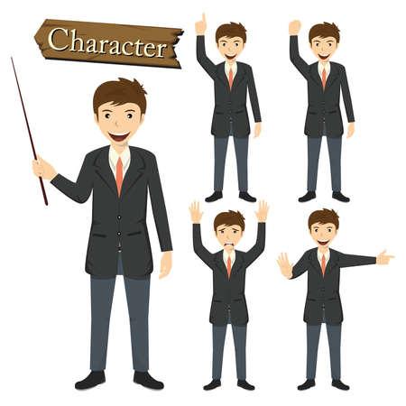 scowl: Businessman character set vector illustration.