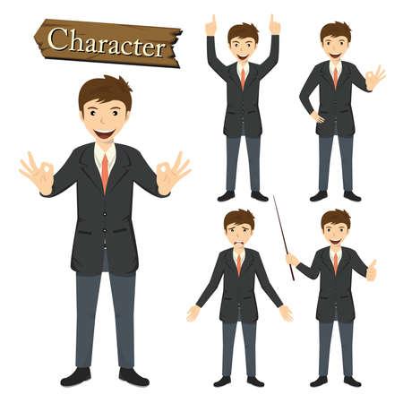 Businessman character set vector illustration.