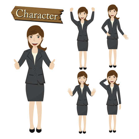 Businesswoman character set vector  illustration. Vector