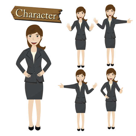 perfect face: Businesswoman character set vector  illustration.