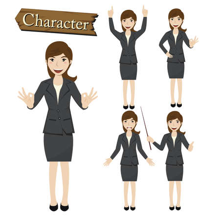 happy business woman: Businesswoman character set vector  illustration.
